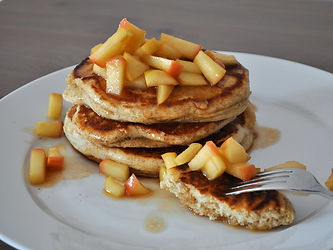 fluffy pumpkin pancakes with apple compo
