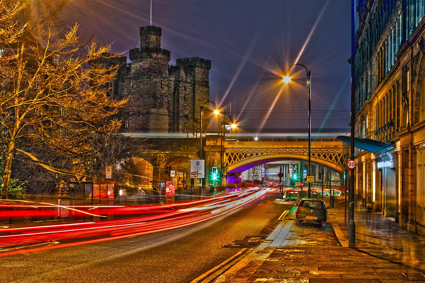 Newcastle Castle light trails