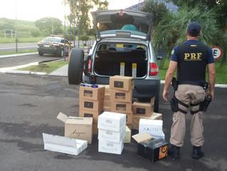 PRF apreende veículo carregado com cerca de R$ 12 mil em bebidas