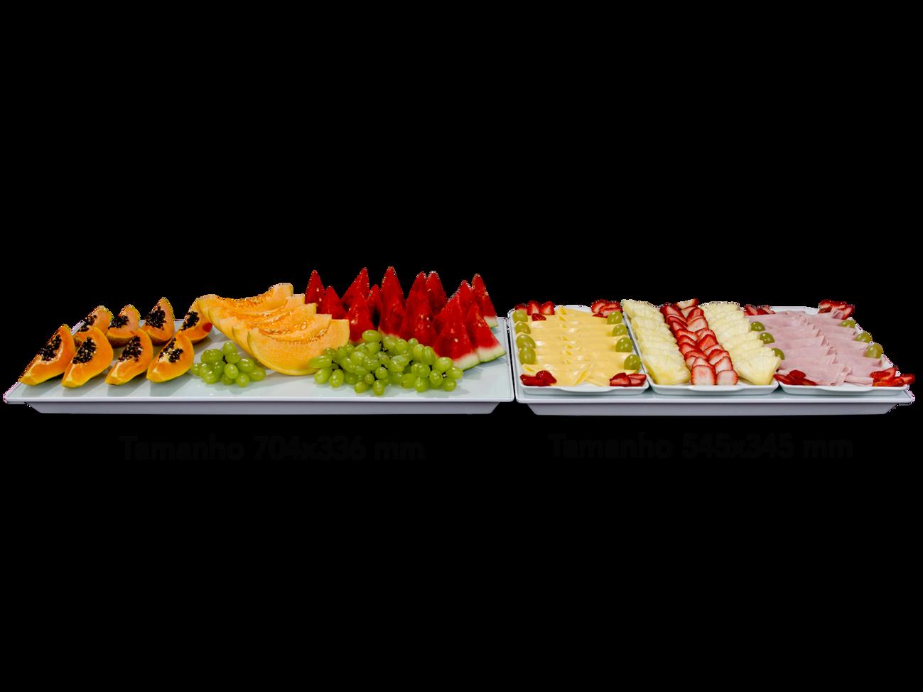 Bandejas Gella Branca +Vidro + Frutas  2
