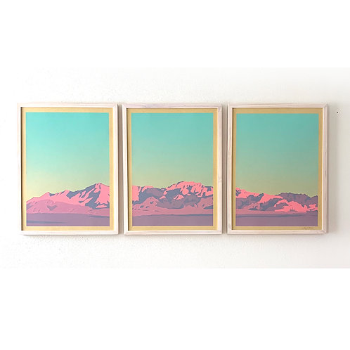 "Mountain Triptych Screenprint, 3, 18x24"" panels"