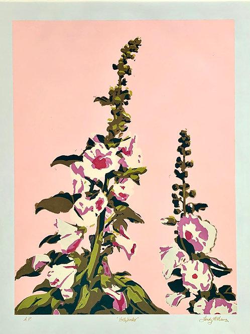 "Hollyhock Stencil Print, 22x28"""