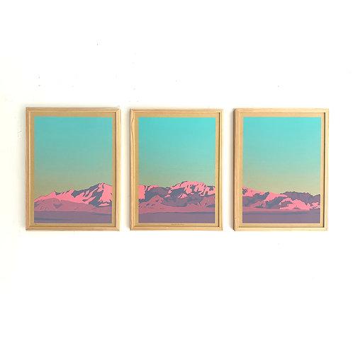 "Mountain Triptych Screenprint, 3, 18x24"" panels"