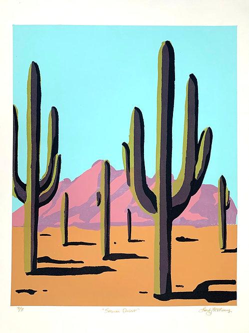 "Sonoran Desert Stencil Print, 18x24"""