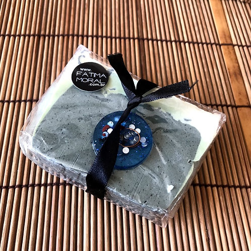 Sabonete Esfoliante de Turmalina Negra com Orgonite