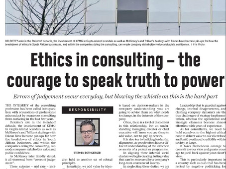 Thought leadership: ethics in consulting