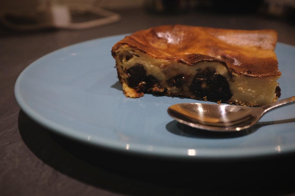 A picture of a slice of Far Breton, a custard-based dessert