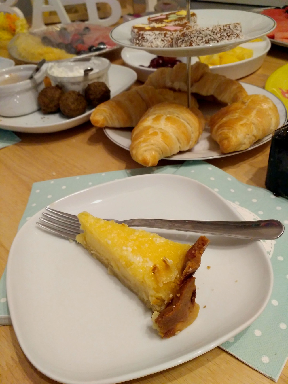 Picture showing a slice of lemon tart