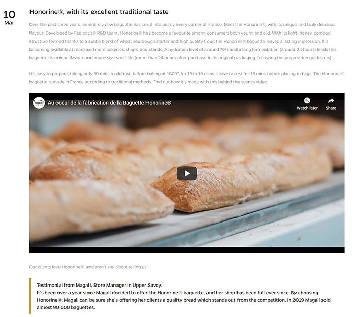 Screenshot of French to English translation for a featured product, the Honorine baguette for Fedipat, from the food industry