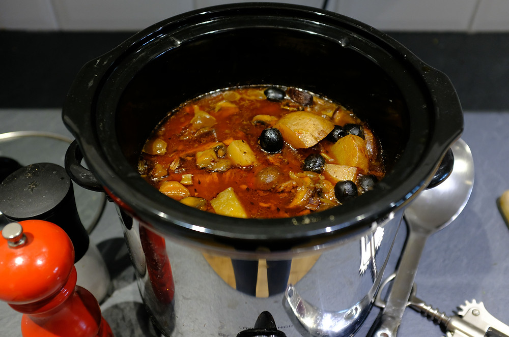 Picture of the beef stew cooking in the crockpot