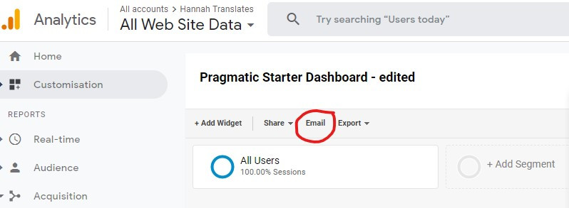 Google Analytics screenshot showing how to email a dashboard