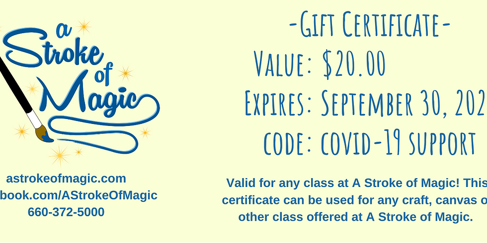 $20 - Gift Certificate