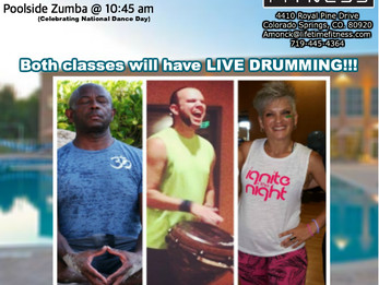 Poolside Yoga and Zumba with LIVE DRUMS @ Lifetime Fitness | Colorado Springs, CO