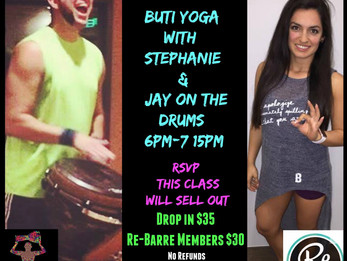 Buti Yoga with Stephanie and Jay on the Drums at Re-Barre Studio| Scottsdale, AZ