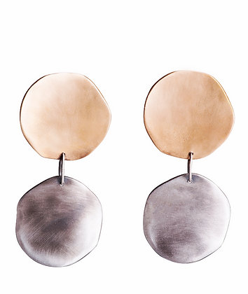 Progetto lunare silver and bronze earrings