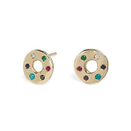 Congiunzioni yellow gold and precious stones earrings