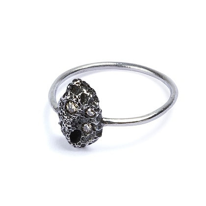 Volcano silver and diamonds ring.