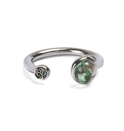 Congiunzioni white gold and tourmaline ring