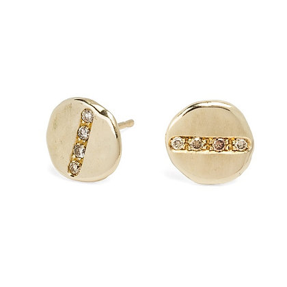 Progetto Lunare gold earrings with champagne diamonds