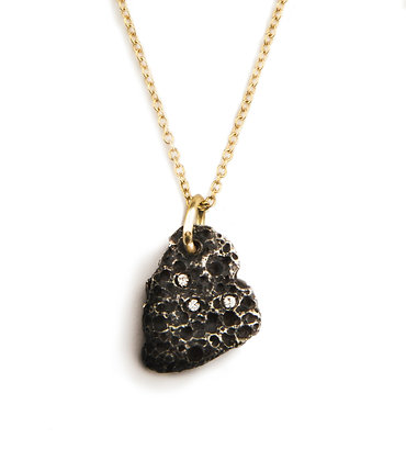 Volcano oxidized silver amulet