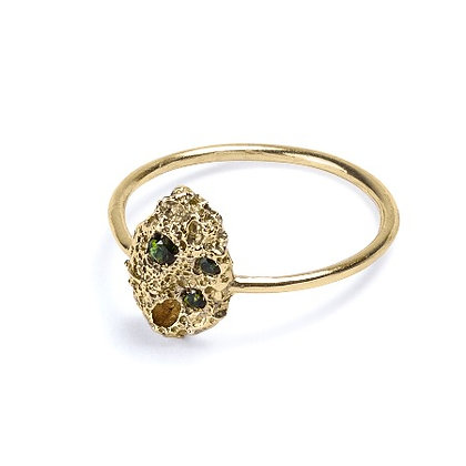 Volcano yellow gold and tourmalines ring