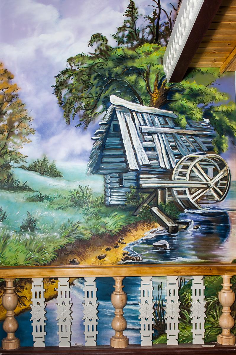 роспись для кафе елки-палки