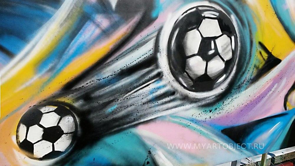 футболисты граффити на стене