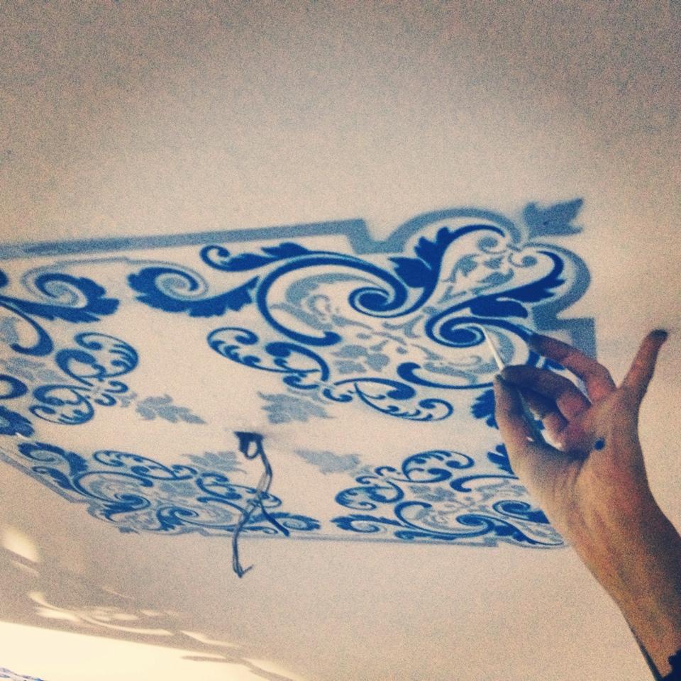 Роспись потолка в ресторане