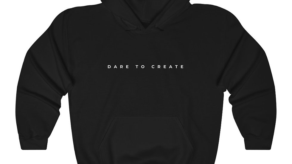 Dare to Create Elegant Unisex Hooded Sweatshirt White Print