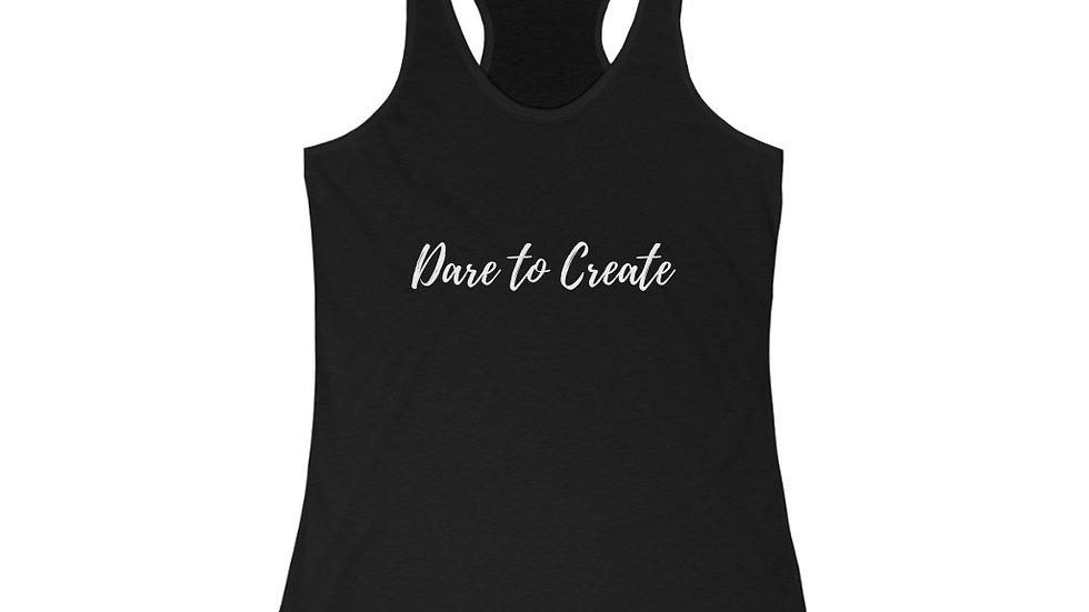 Dare to Create Calligraphy Women's Racerback Tank (White Print)