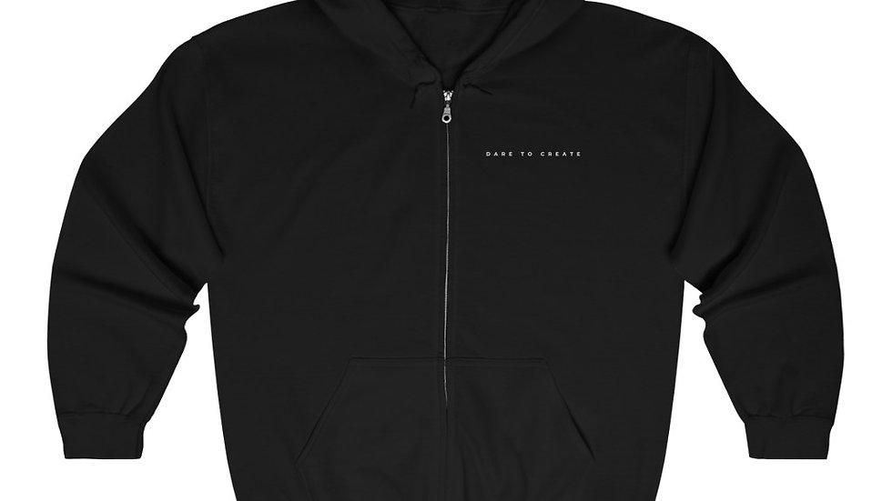 Dare to Create Elegant Full Zip Hooded Sweatshirt