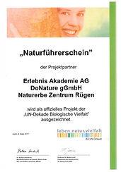 Urkunde Naturführerschein UN-Dekade 2017