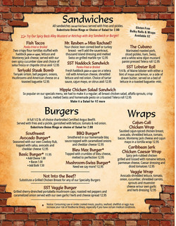 Silver Street Tavern menu for Burgers, wings, and sandwiches