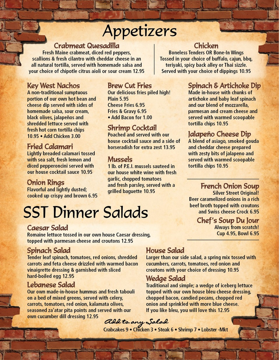 SST Appetizers and Salads