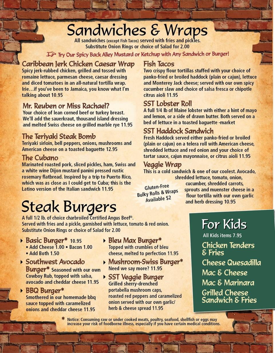 SST Kids Menu Burgers Sandwiches Wraps