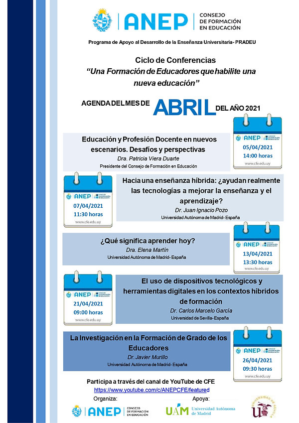 Ciclo de Conferencias - Agenda de ABRIL