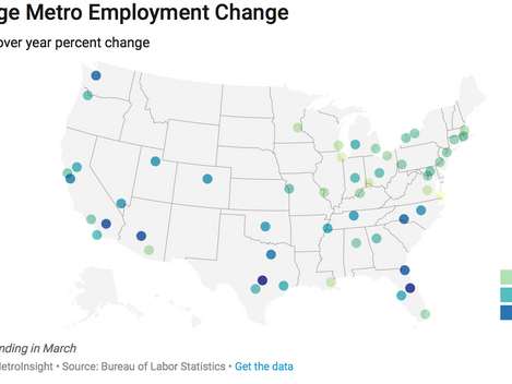 US Employment Growth Continues to have a Southern and Western Flavor