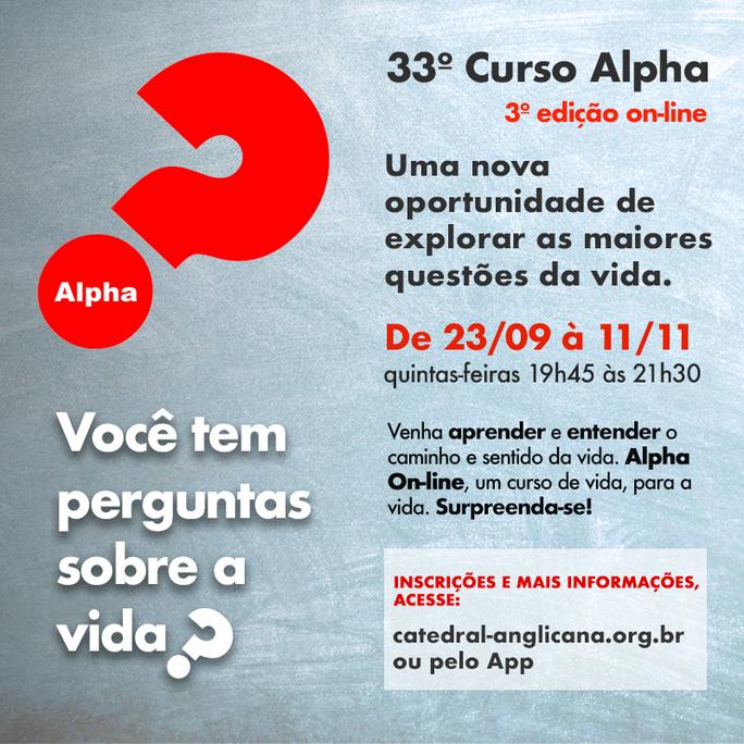 33º CURSO ALPHA - Inscrições abertas!