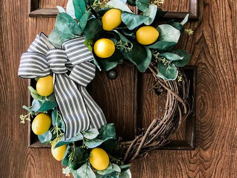 Simple DIY Spring Lemon Wreath
