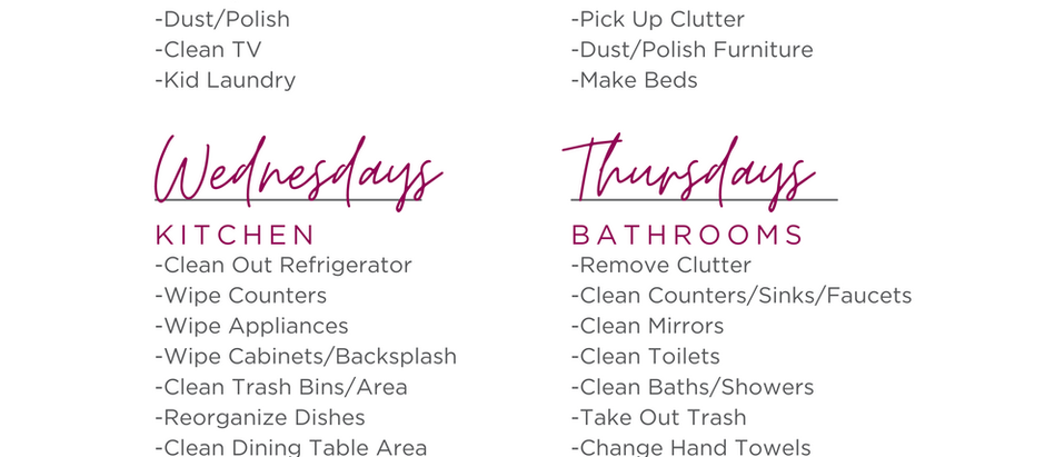 Busy Mom's House Cleaning Schedule