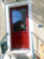 porte d'entrée pvc rouge