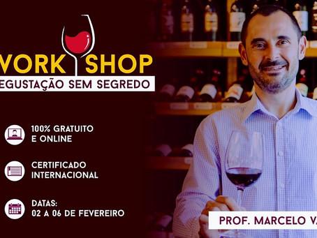 LOTADO - Workshop gratuito - Degustação de vinho sem segredo