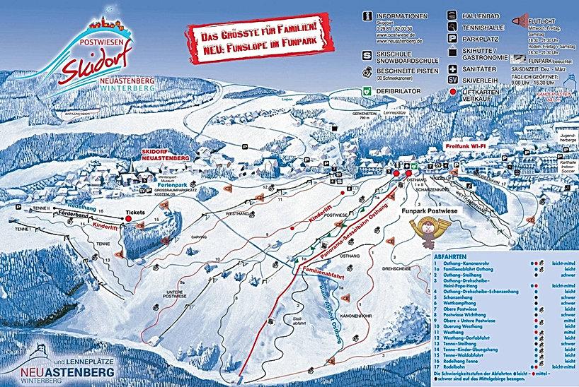 Skigebied Skidorf Funpark Rodelen Sleeën Kinderweide Skilessen Après-ski Schirmbar Lawine Postwiese Winterberg Neuastenberg Hotel Wintersport