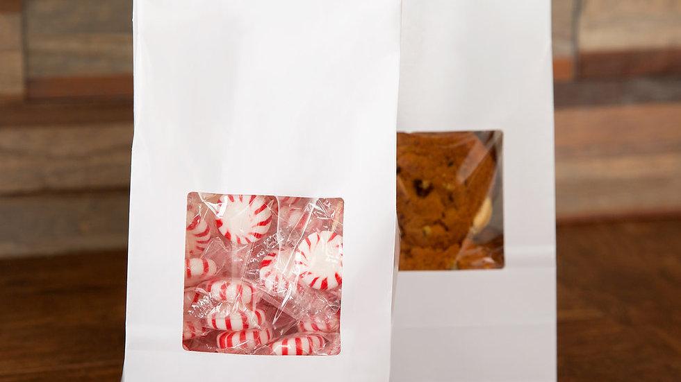 4.75 x 2.5 x 9.5 White Windowed Coffee Bag