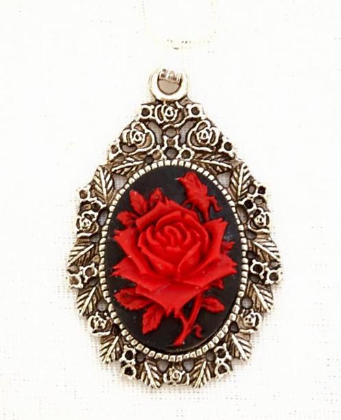 Red rose pendant vintage jewellery melbourne la monet vintage red rose pendant mozeypictures Choice Image