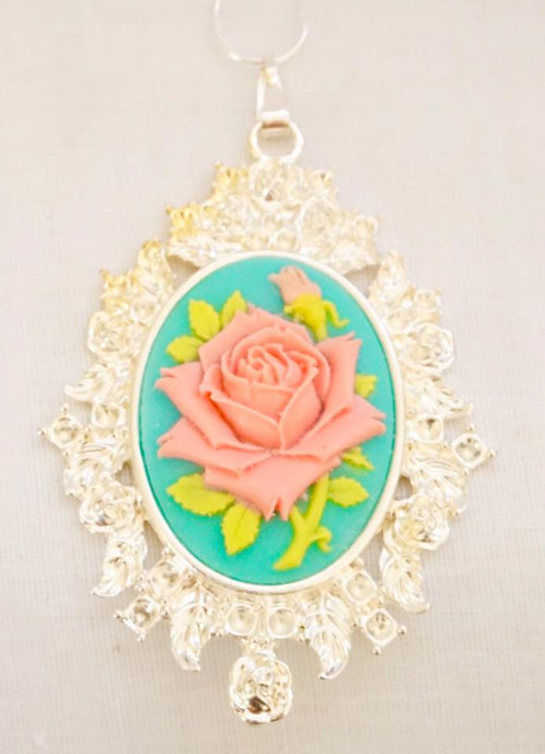 Pink rose pendant on aquamarine vintage jewellery melbourne la pink rose pendant on aquamarine audiocablefo
