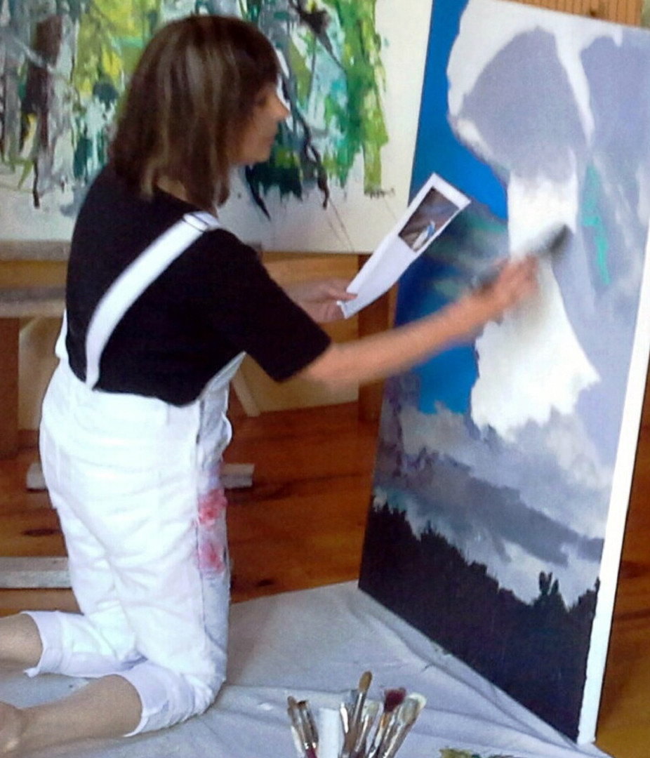 Painting in studio