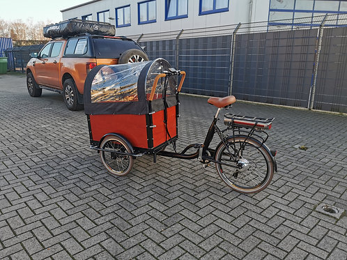 eBike Lastenrad - 468 Wh Akku, Sitzbänke, Gurte, Regenhaube