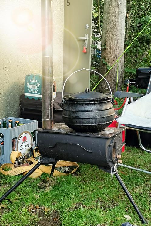 Zeltheizung / Campingofen / Kochstelle portabel-mit Edelstahlkamin