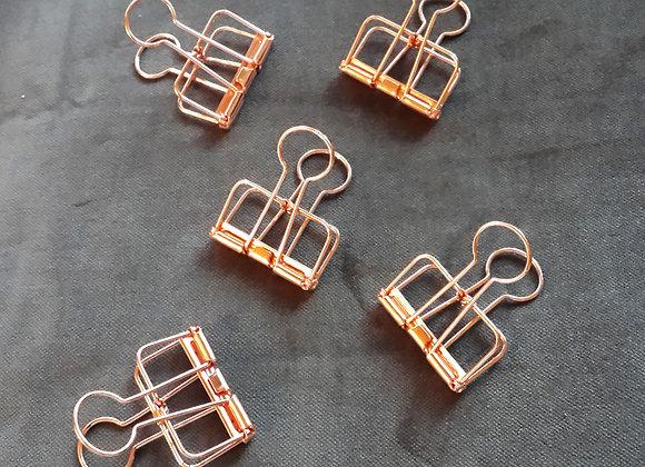 COPPER BINDER CLIPS - set of 5